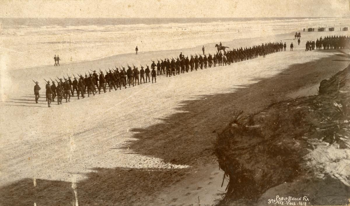 3rd Nebraska Volunteers performing military drills on Pablo Beach.