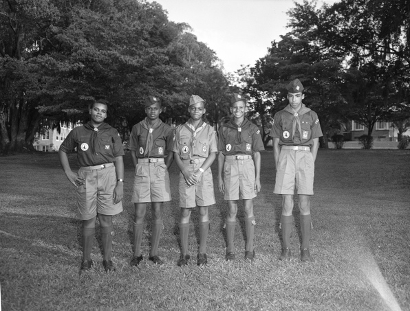 Portrait of African American Boy Scouts in Tallahassee, Florida.