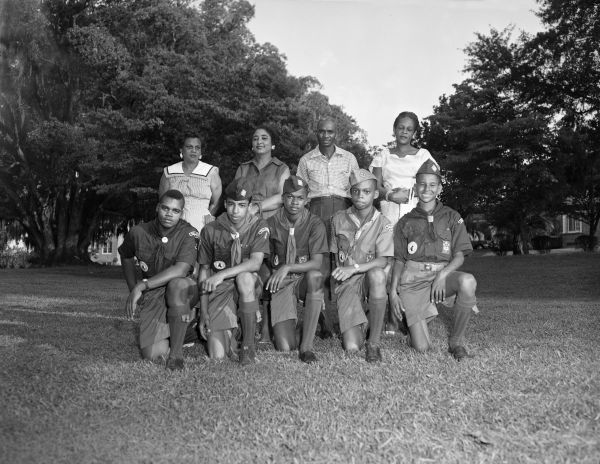 Group portrait with African American Boy Scouts in Tallahassee, Florida.