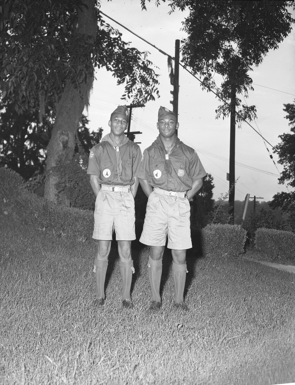 Portrait of two African American Boy Scouts in Tallahassee, Florida.