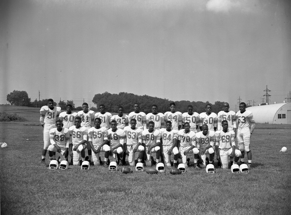 Group portrait of FAMU High School football players in Tallahassee.