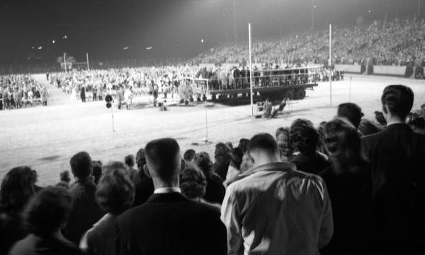 Crowd at Doak Campbell Stadium in Tallahassee listening to evangelist Billy Graham.