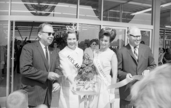 Mrs. America and Miss Tallahassee at the grand opening of the new J. M. Fields discount department store in Tallahassee.
