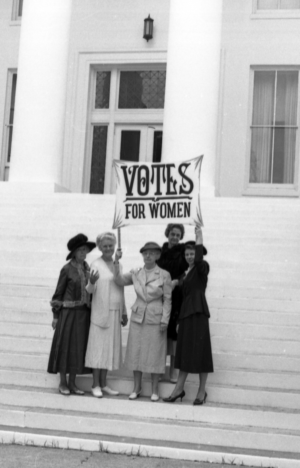 League of Women Voters recalling suffragist years on the steps of the Capitol in Tallahassee.