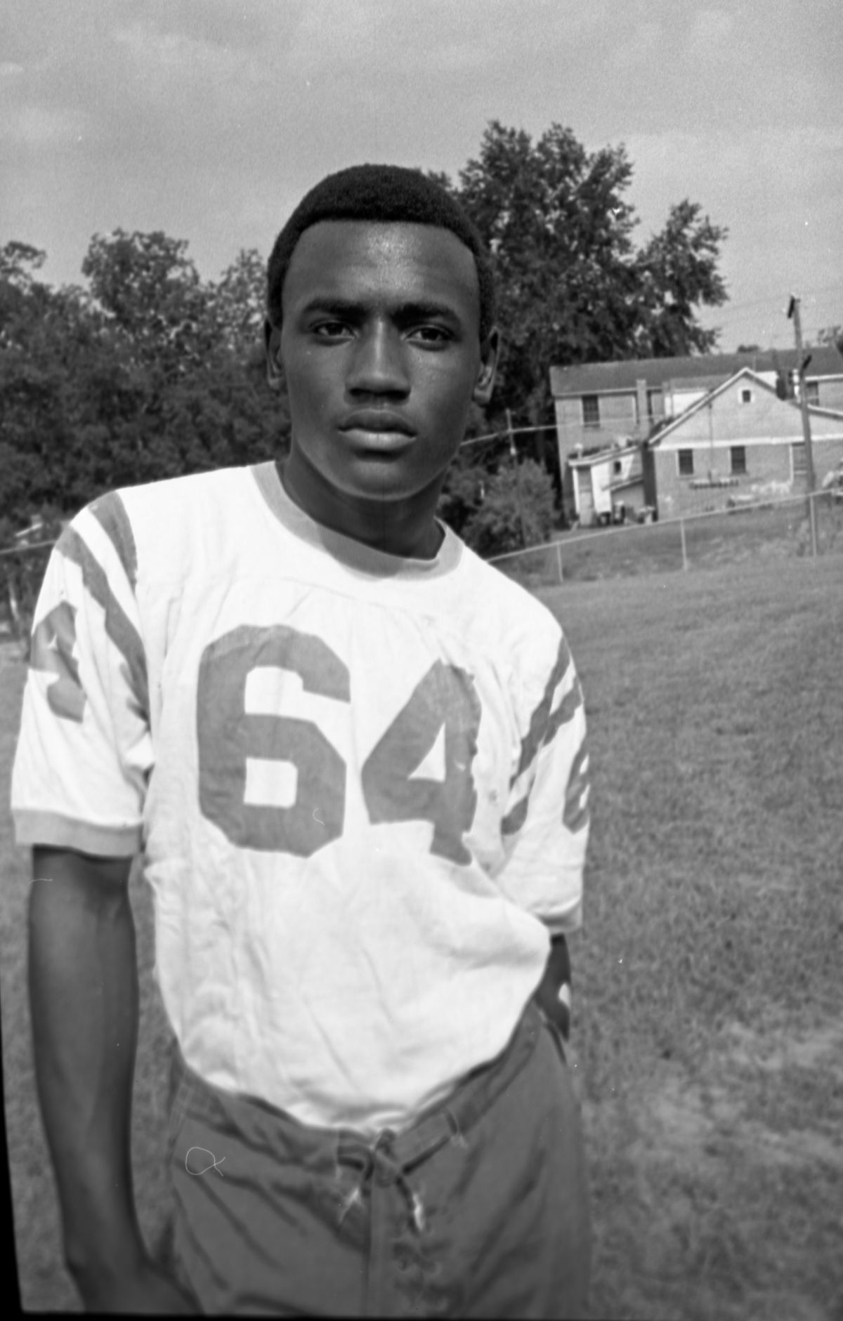 Portrait of a FAMU High School football player #64 in Tallahassee.