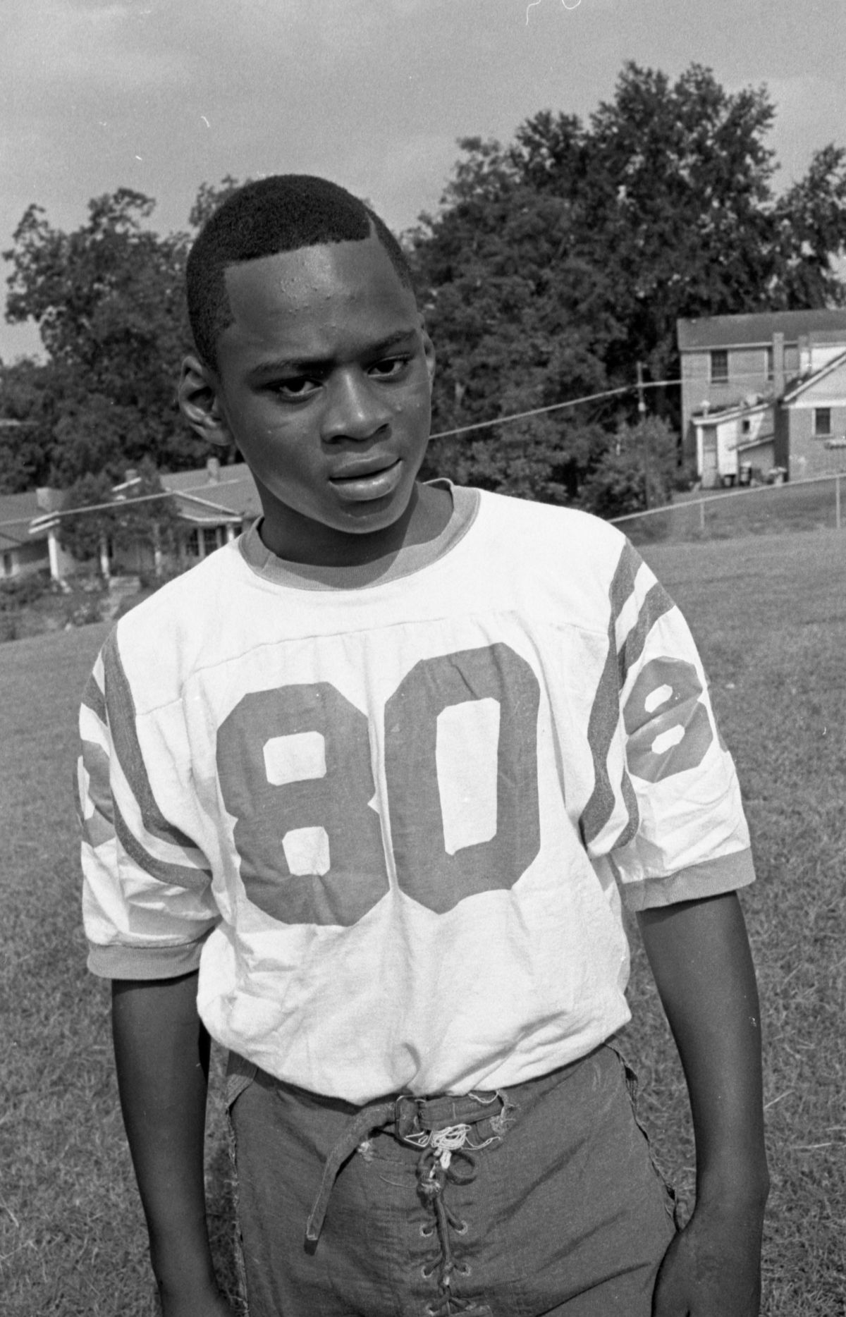 Portrait of a FAMU High School football player #80 in Tallahassee.
