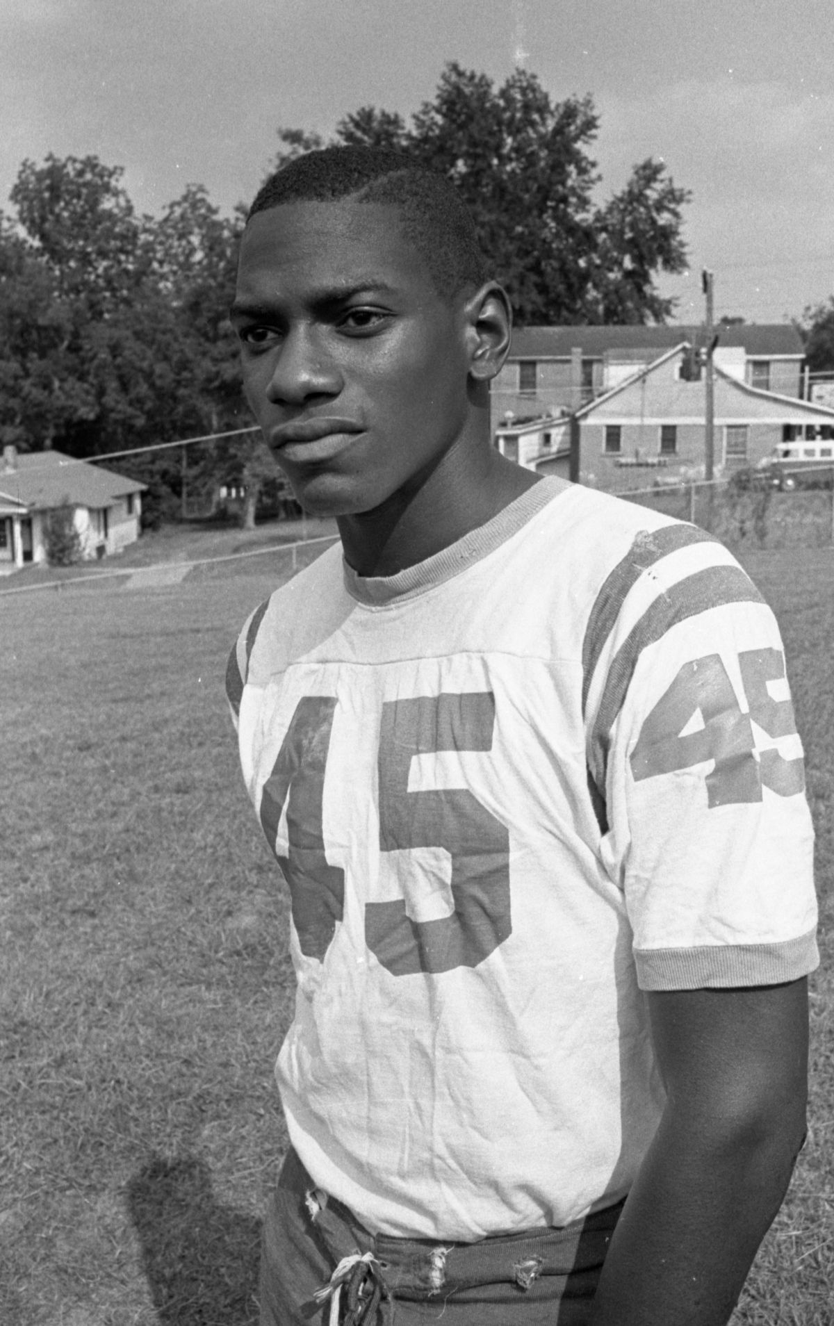 Portrait of a FAMU High School football player #45 in Tallahassee.
