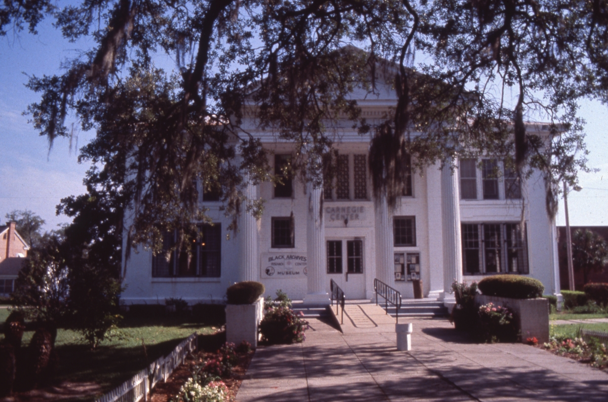 Front of the Carnegie Library at FAMU, home to the Black Archives Research Center and Museum in Tallahassee, Florida.