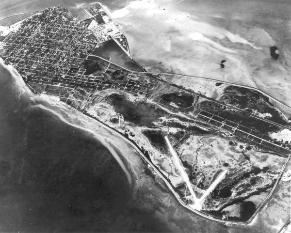 Aerial view of Key West from southeast.