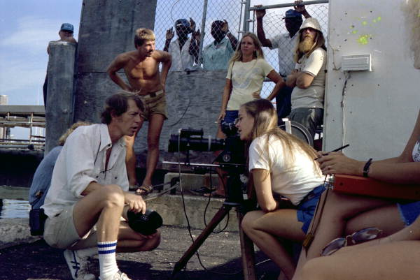 """Film crew on the set for filming of the movie """"Cuba Crossing"""" - Key West, Florida."""