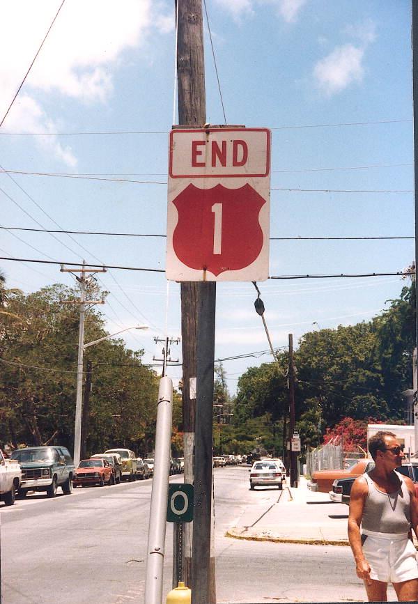 Mile marker 0 at the end of U.S. 1 - Key West, Florida.