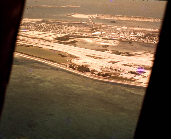 Aerial view overlooking the Key West International Airport.