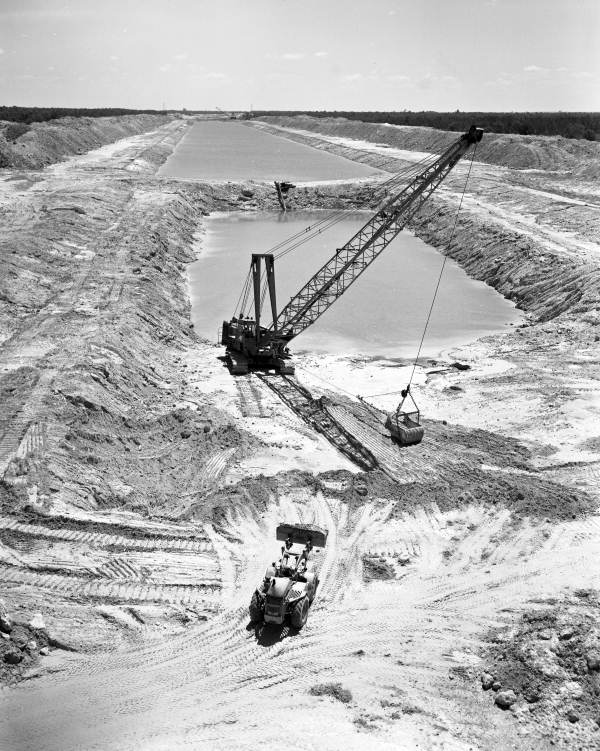 Bird's eye view overlooking construction of the Cross Florida Barge Canal.
