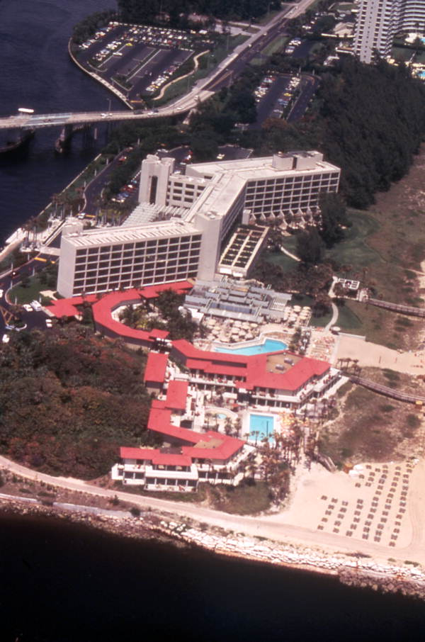 Aerial view overlooking the Boca Beach Club resort at 900 S. Ocean Blvd. in Boca Raton, Florida.