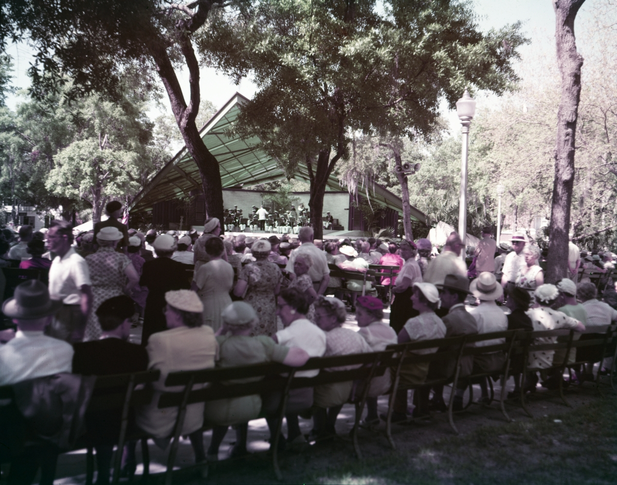 Crowd enjoying the open-air concert at Williams Park in St. Petersburg.