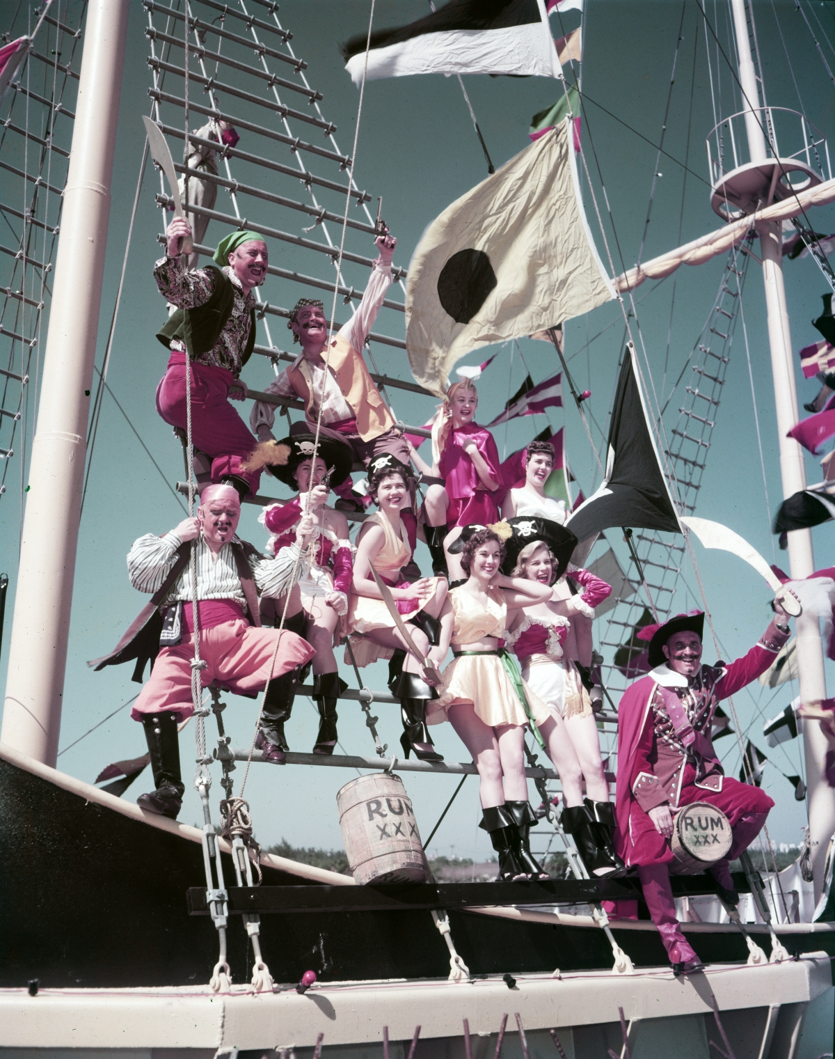 Costumed participants aboard ship at the Gasparilla festival in Tampa.