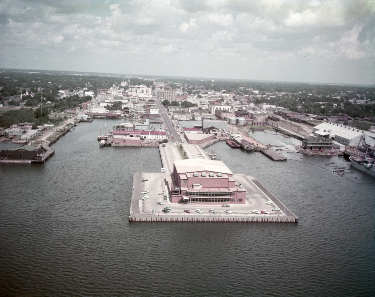 Aerial view looking north over municipal auditorium on the pier in Pensacola.