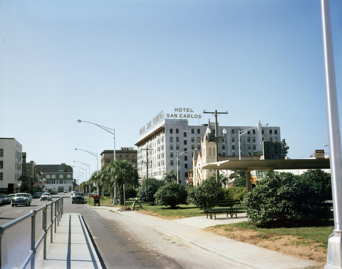Looking south on Palafox St. at Hotel San Carlos in Pensacola.