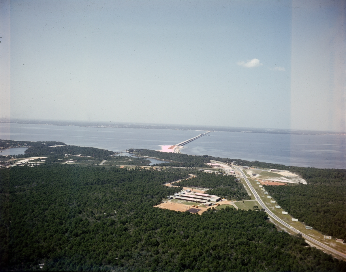 Aerial view looking north from Gulf Breeze towards the Pensacola Bay Bridge.