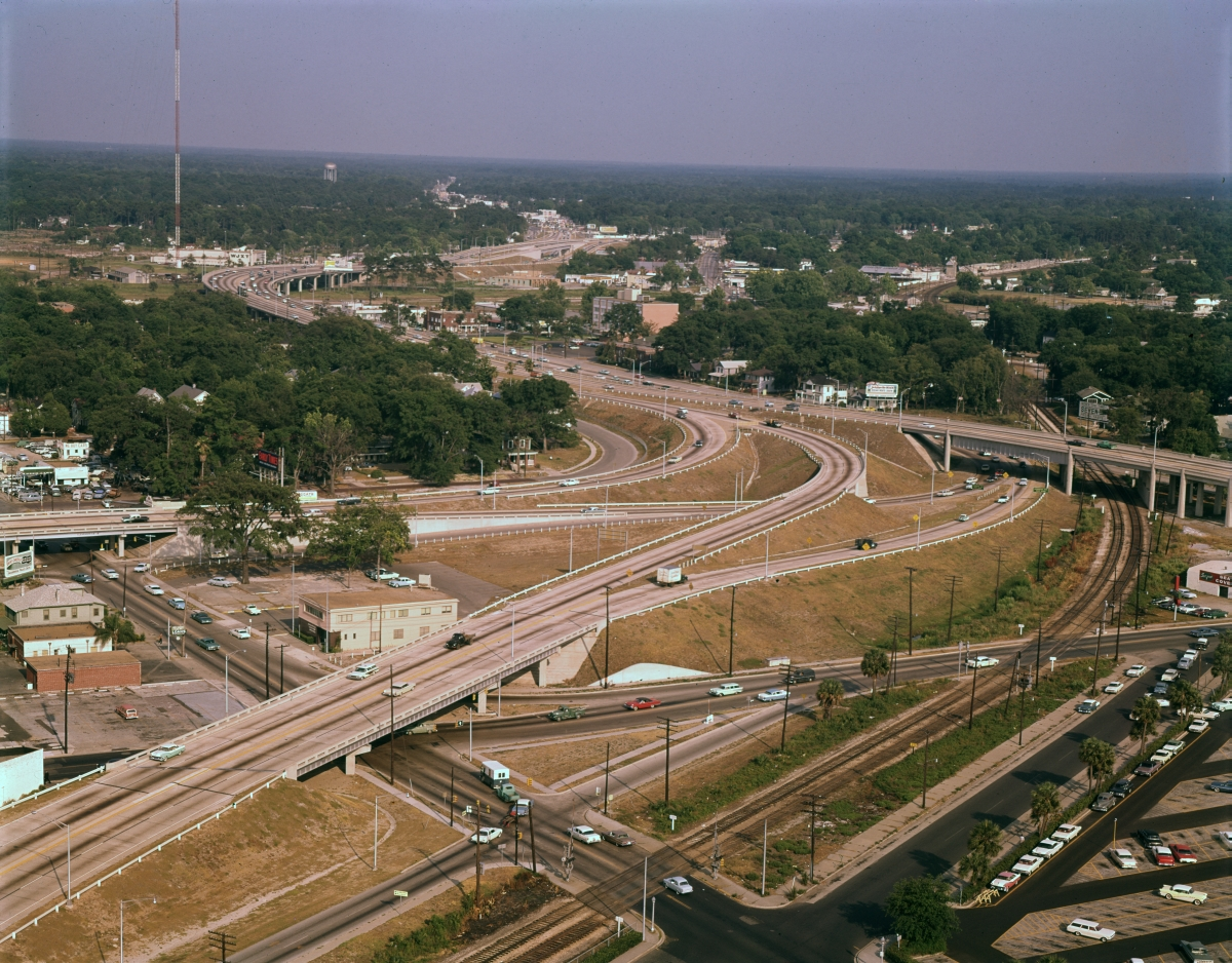 Aerial view looking southeast over the I-95 interchange in Jacksonville.