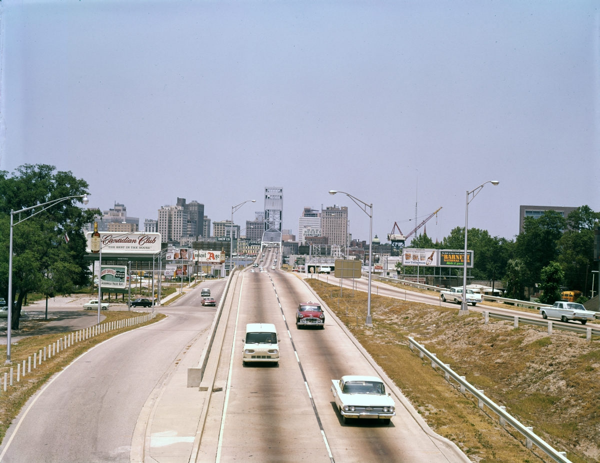 Looking north along Main St. towards the bridge and skyline of Jacksonville.