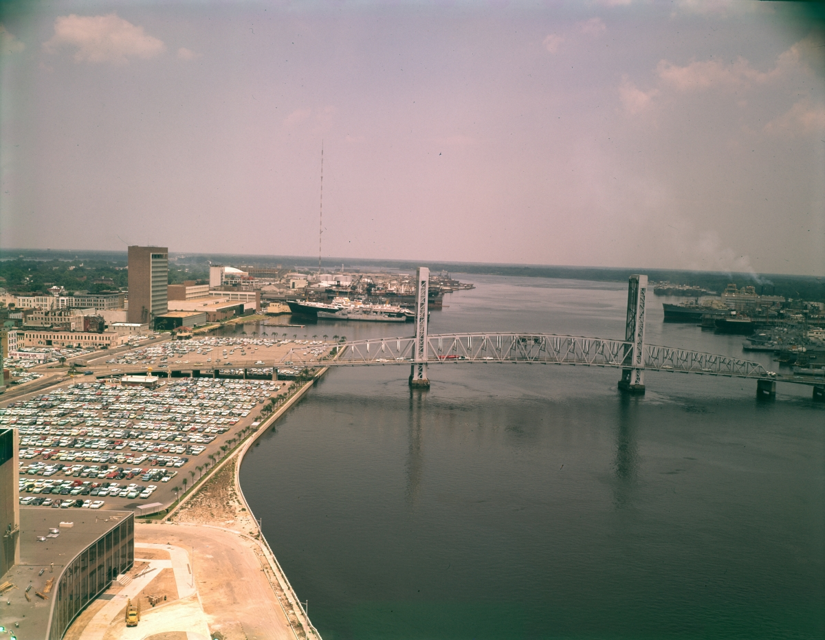 Aerial view looking east at the Main St. Bridge crossing the St. Johns River in Jacksonville.