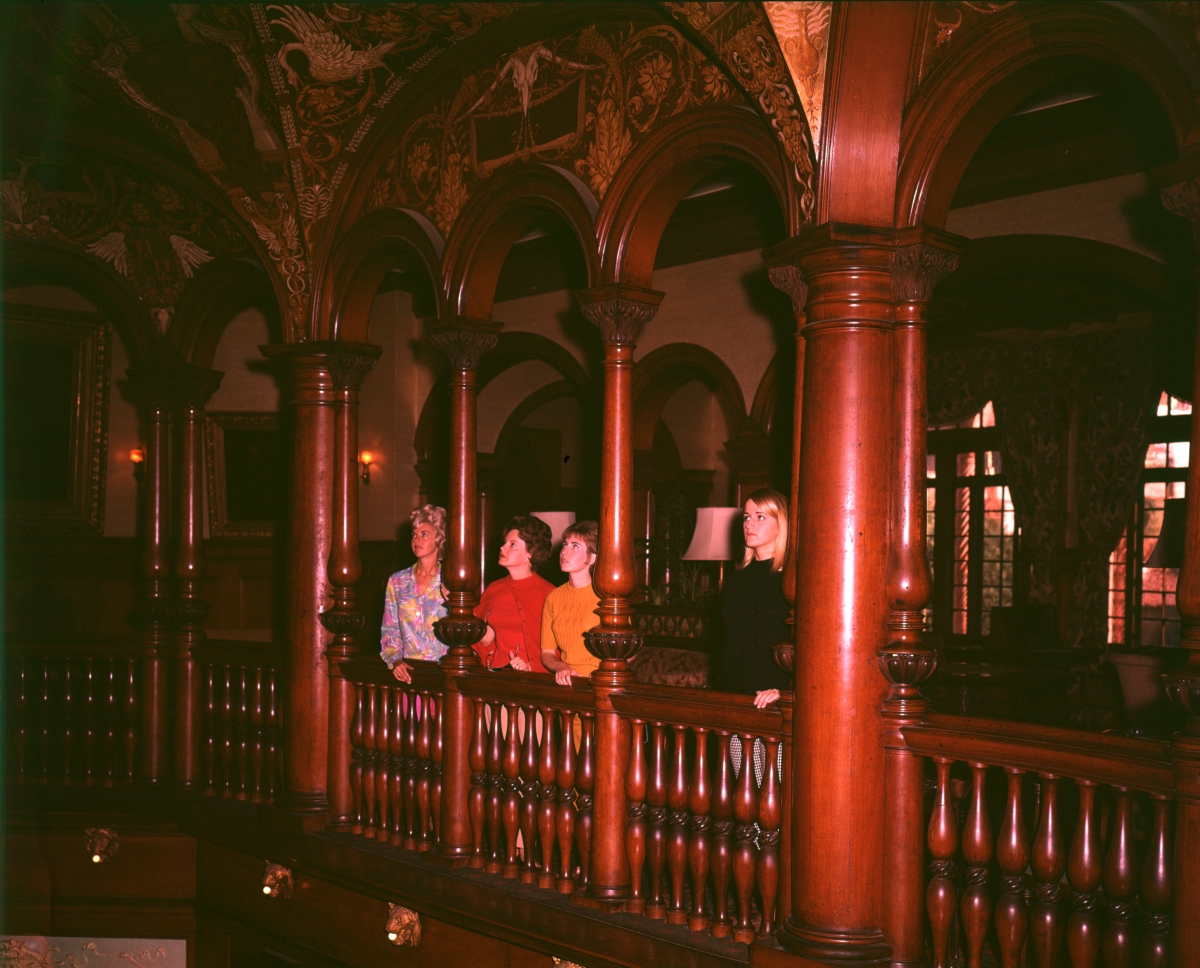 Visitors from F.D.C. admiring interior architecture at the Ponce de Leon hotel rotunda in St. Augustine.
