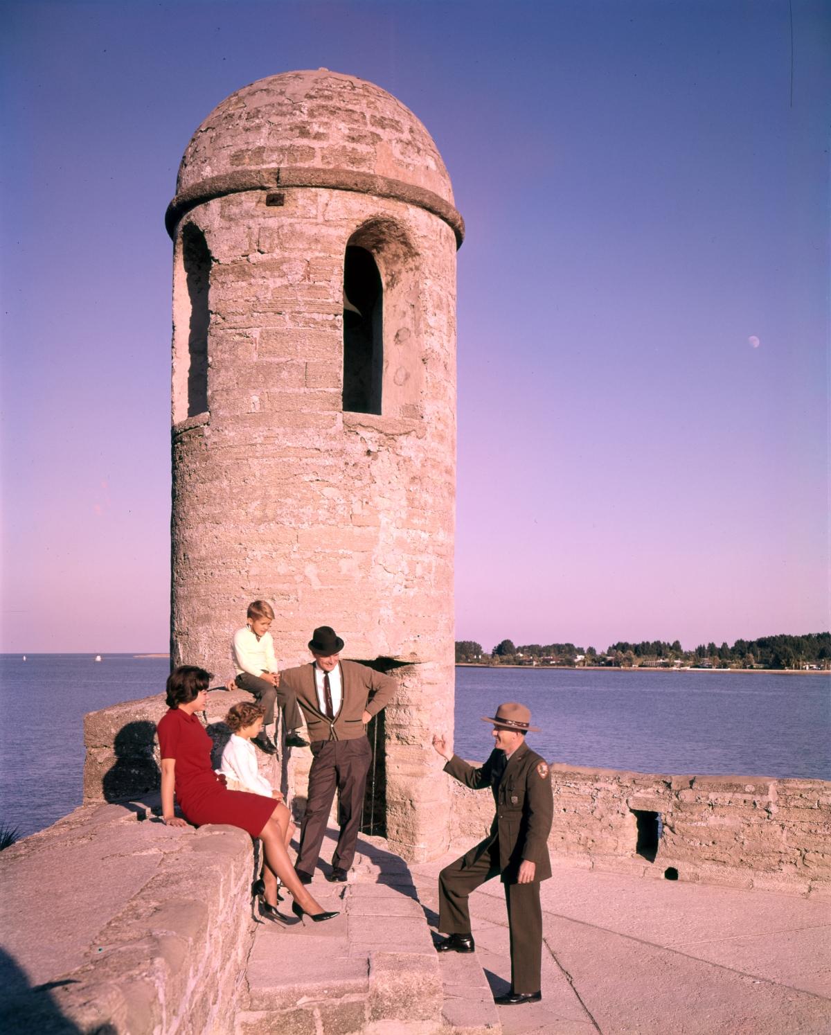 Visitors with ranger J.J. Anderson at Castillo de San Marcos in St. Augustine.