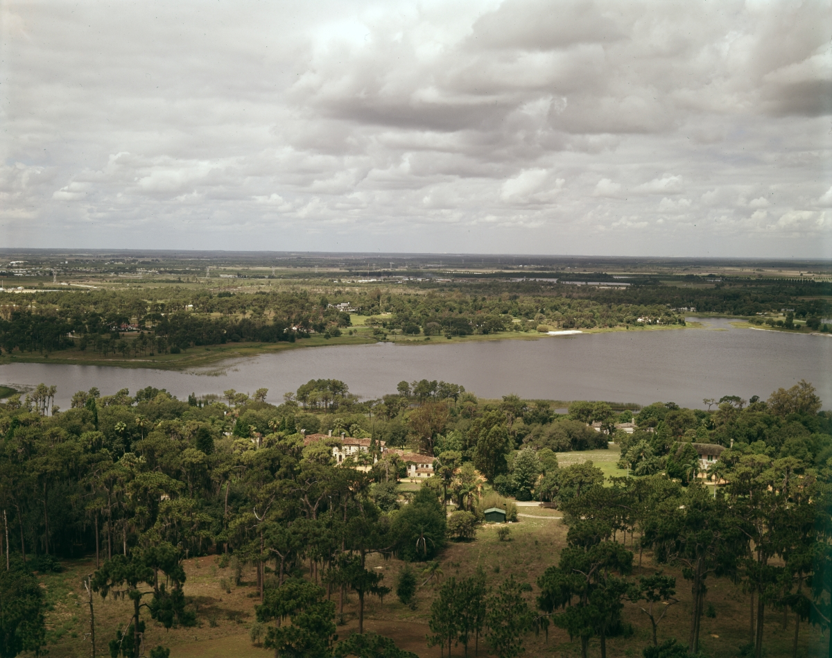 Bird's eye view of Iron Mountain Lake from the top of Singing Tower in Lake Wales.