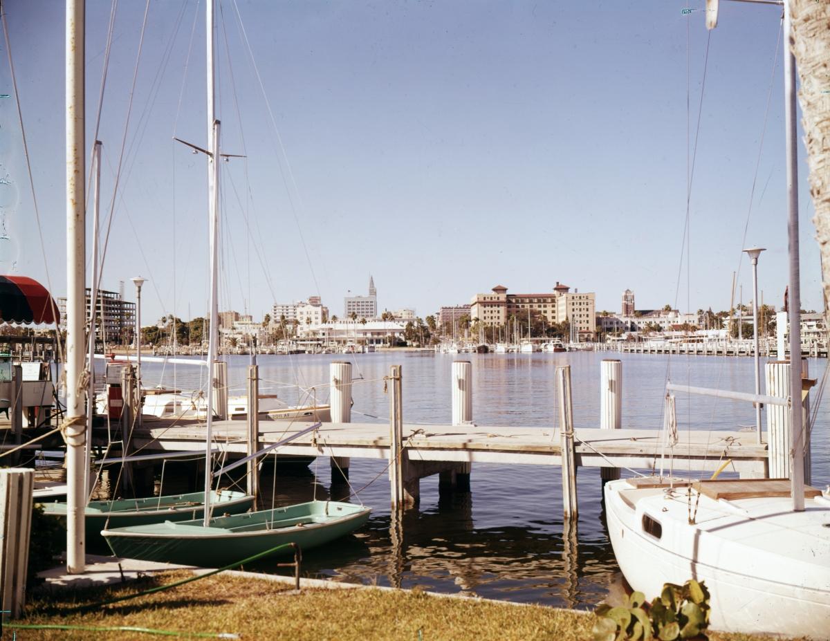 Looking west at skyline behind yacht basin in St. Petersburg.