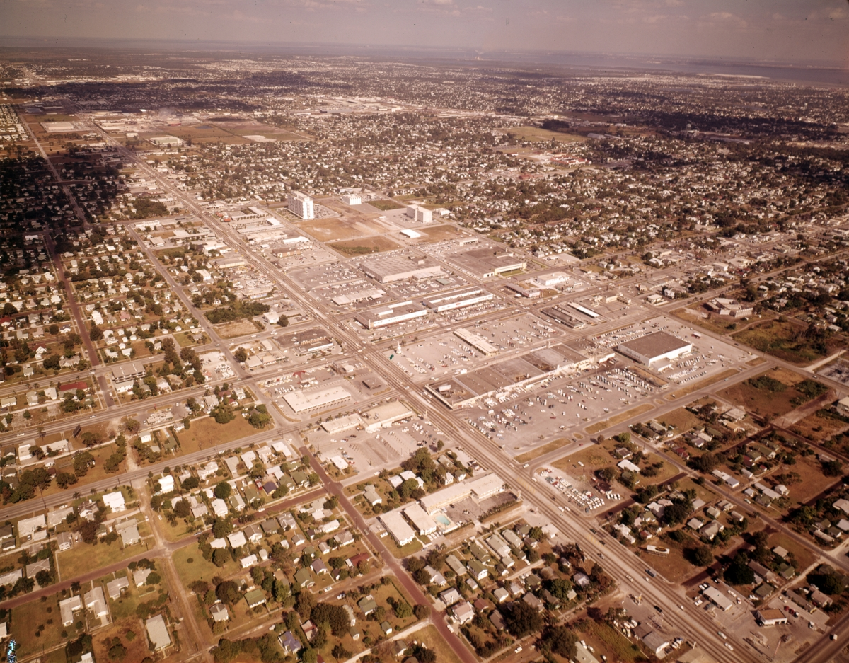 Aerial view looking northeast over downtown Kenwood near St. Petersburg.