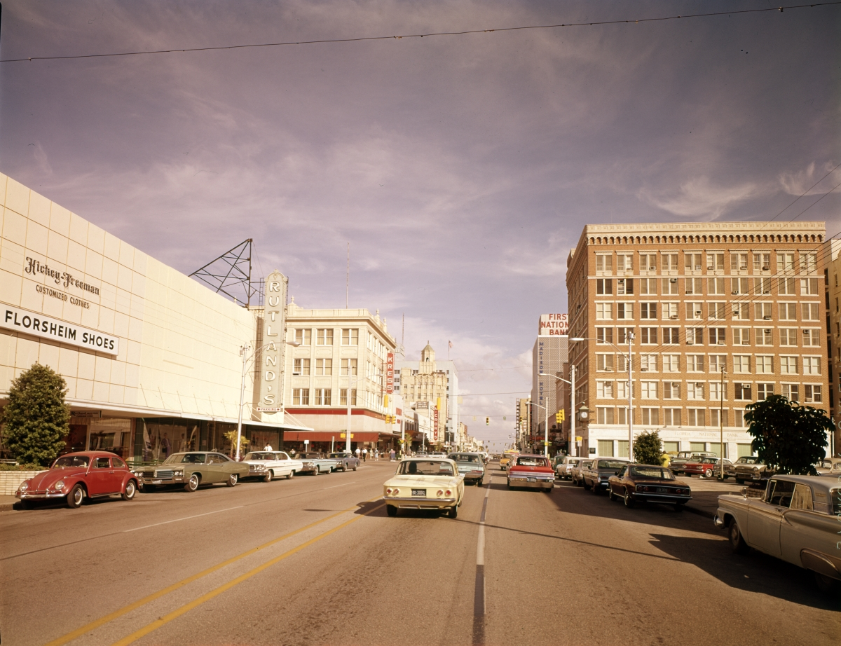 Looking east on Central Ave. in downtown Saint Petersburg.