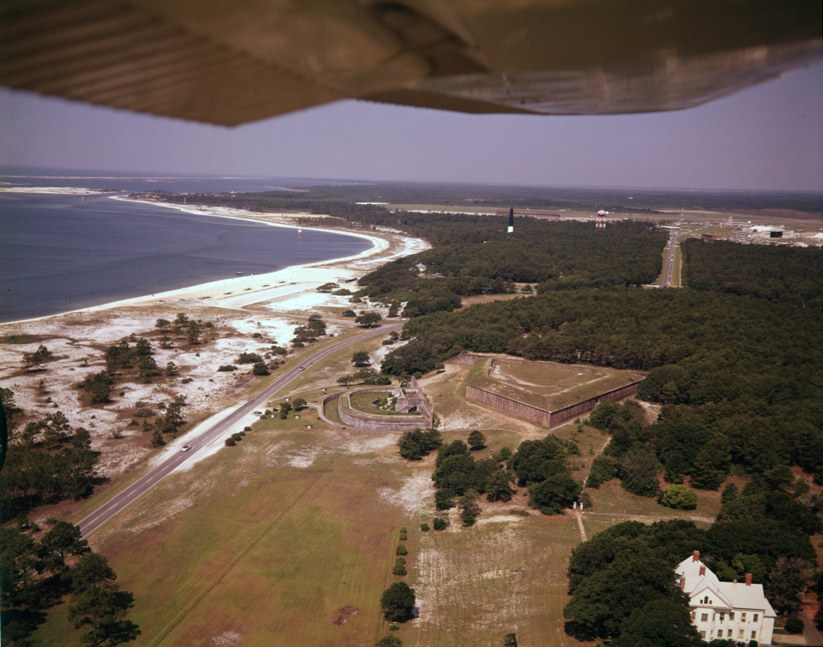 Aerial view looking west over Fort Barrancas in Pensacola.