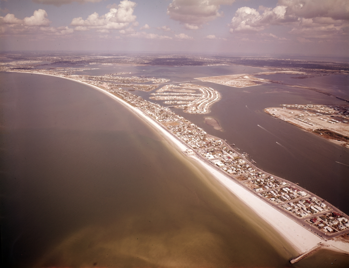 Aerial view looking north over Pass-a-Grille Beach.