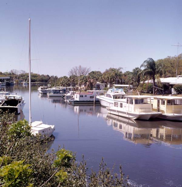 Boats docked at Whitaker Bayou in Sarasota.