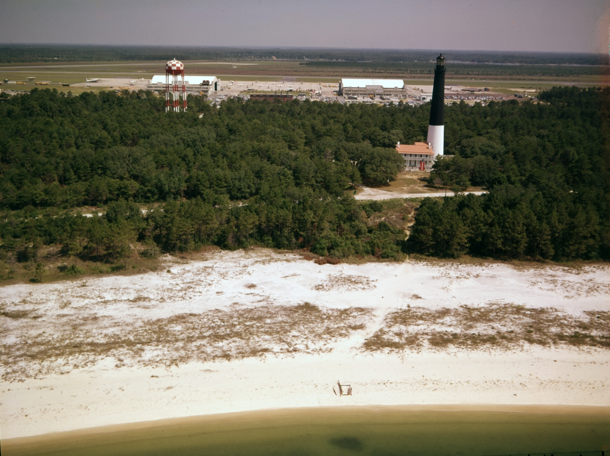 Aerial view looking north at the Pensacola Lighthouse.
