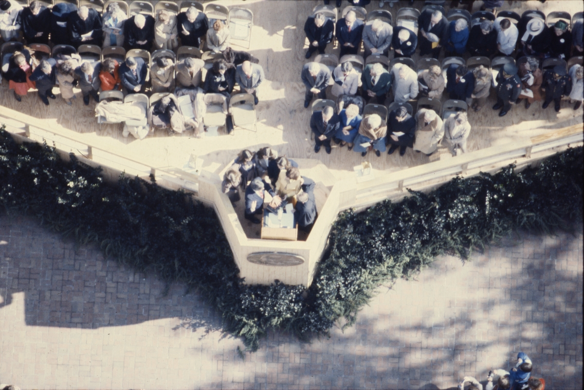 Bird's eye view overlooking Governor Graham's inauguration in Tallahassee.