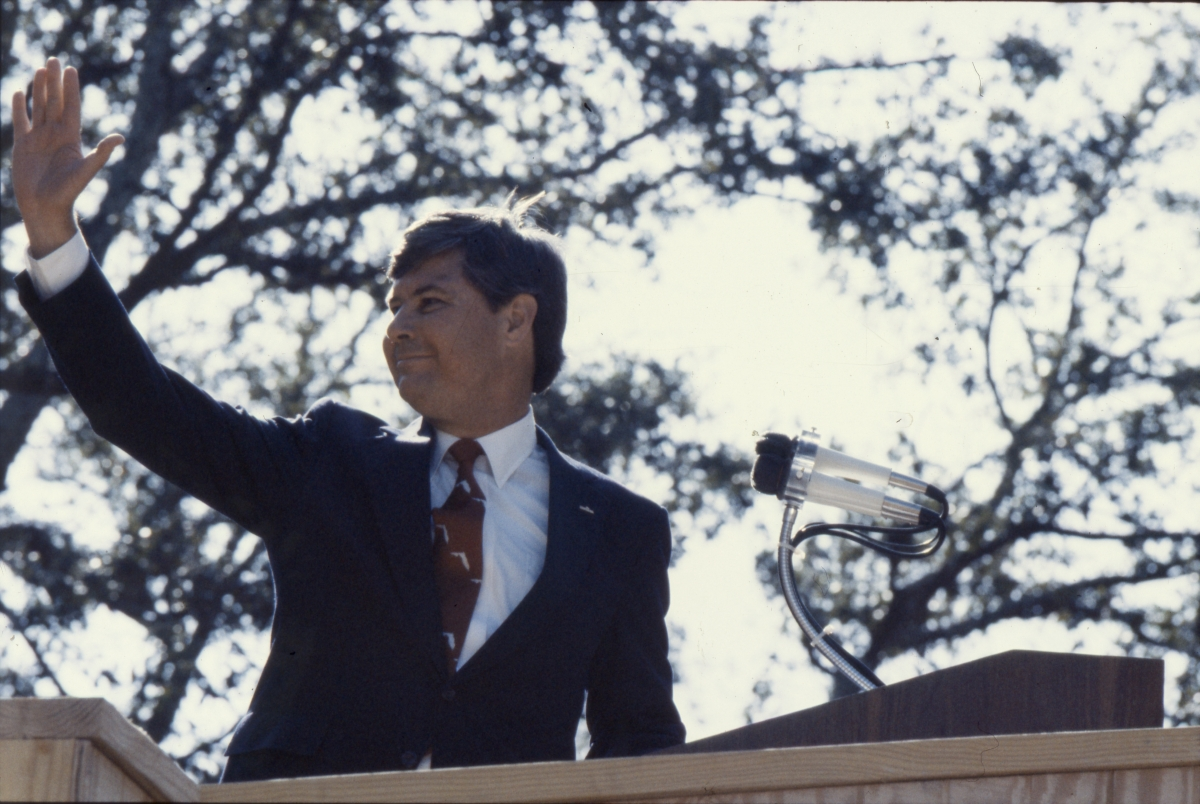 Governor Graham waving during his inauguration in Tallahassee.