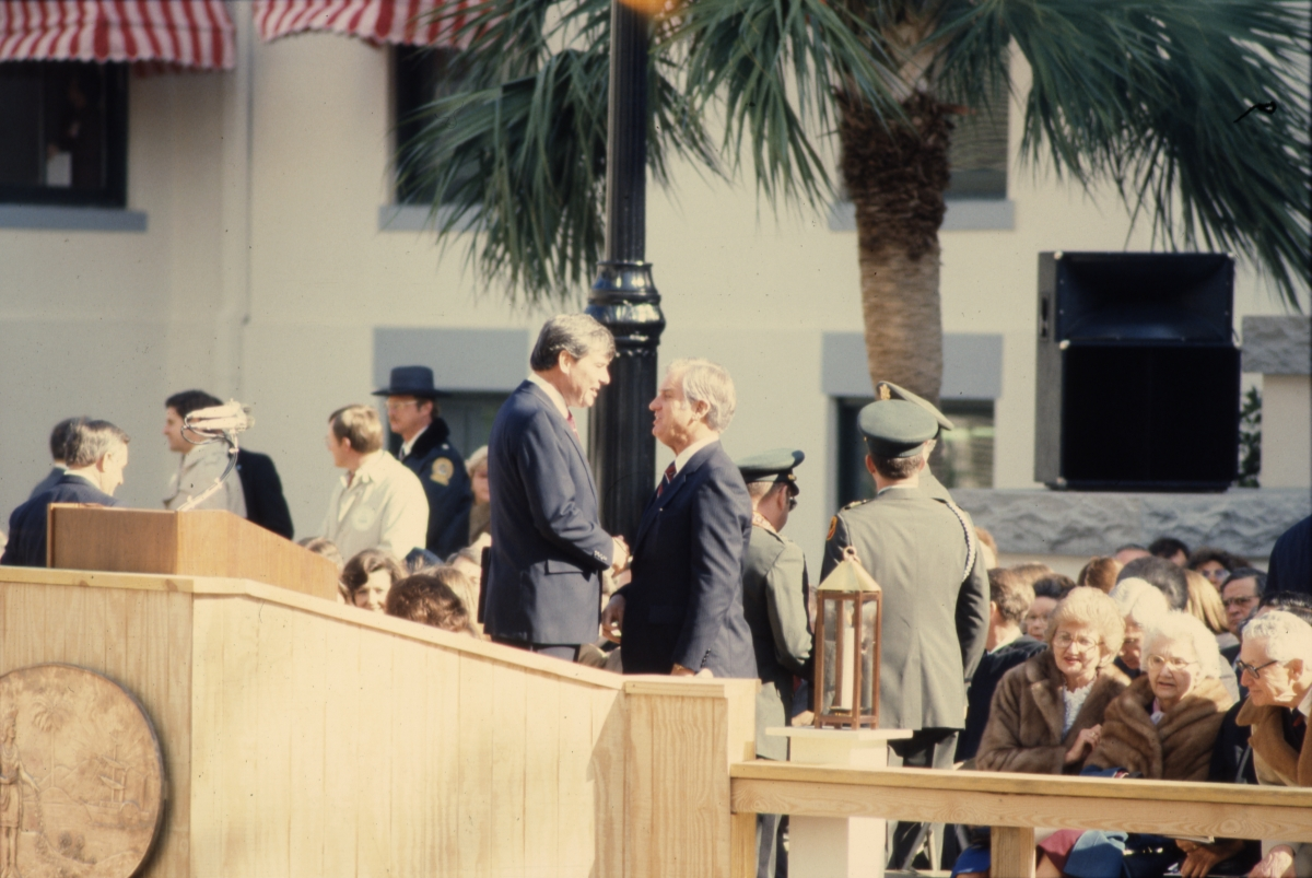 Governor Graham, left, with Lieutenant governor Wayne Mixson during the inauguration ceremony in Tallahassee.