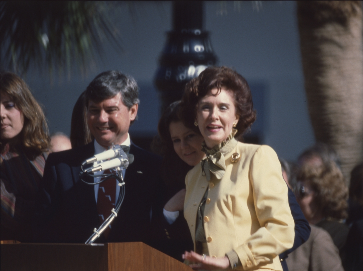 Governor Graham with his wife during the inauguration ceremony in Tallahassee.