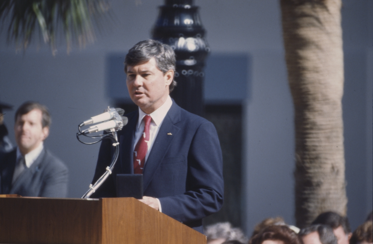 Governor Graham delivering speech during his inauguration in Tallahassee.