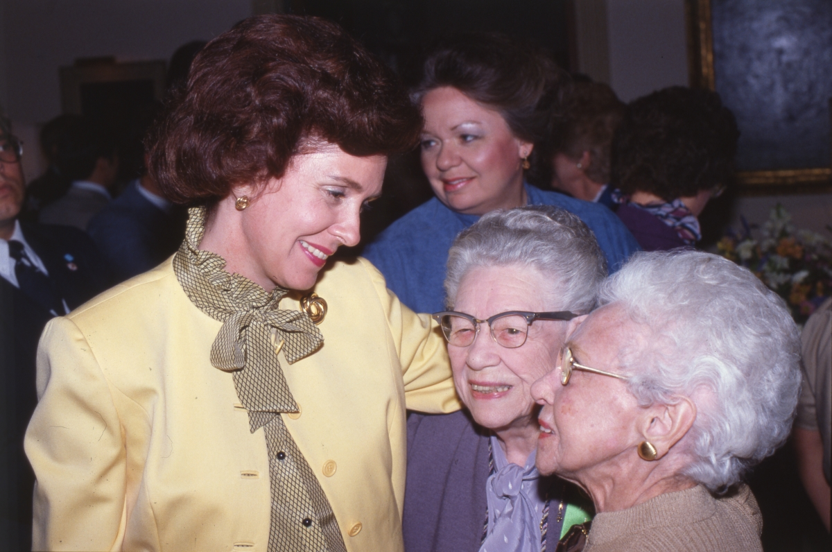 Florida First Lady Adele Graham with visitors at the inauguration party in Tallahassee.