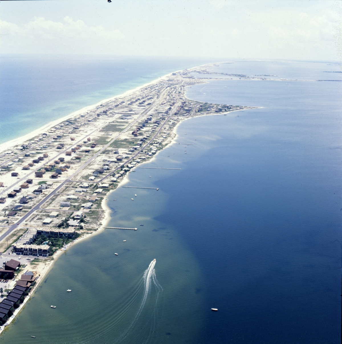 Aerial view looking west over Pensacola Beach.