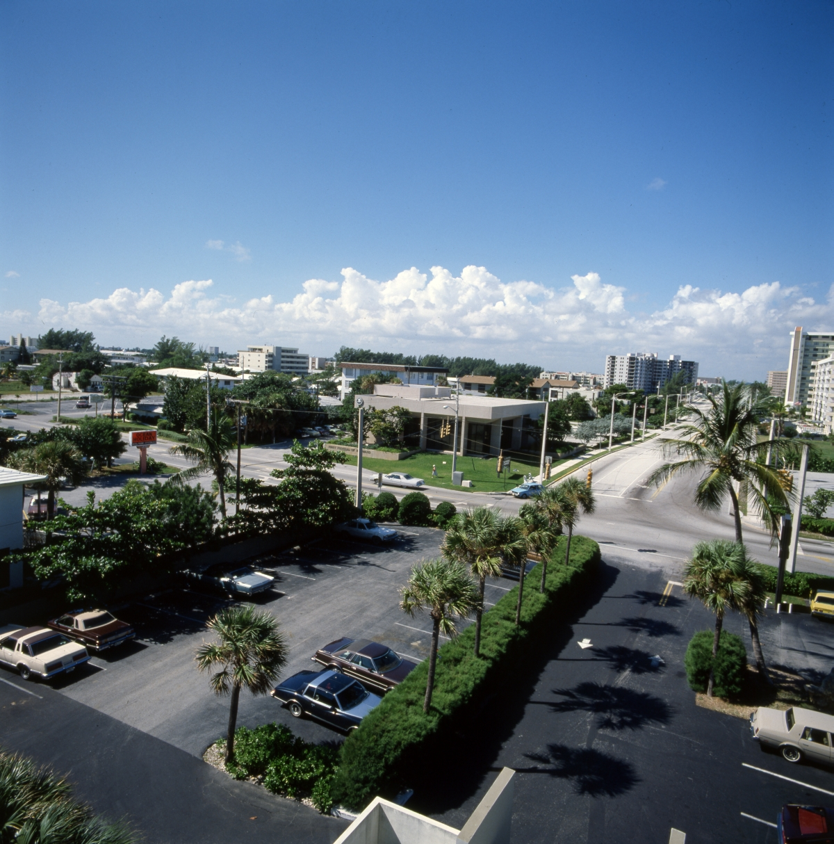 Aerial view looking west over a section of Pompano Beach.