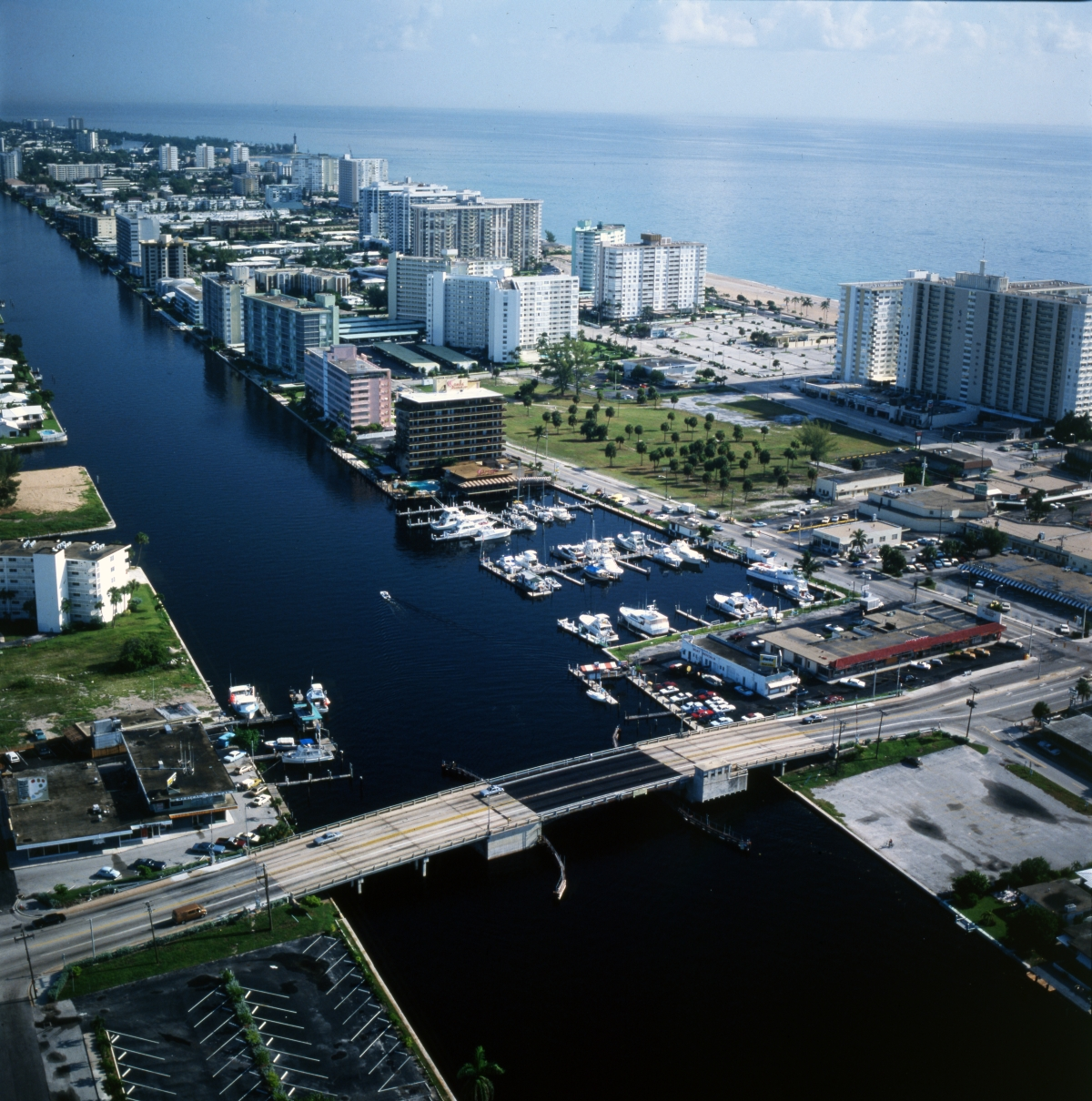 Aerial view looking north over Pompano Beach.
