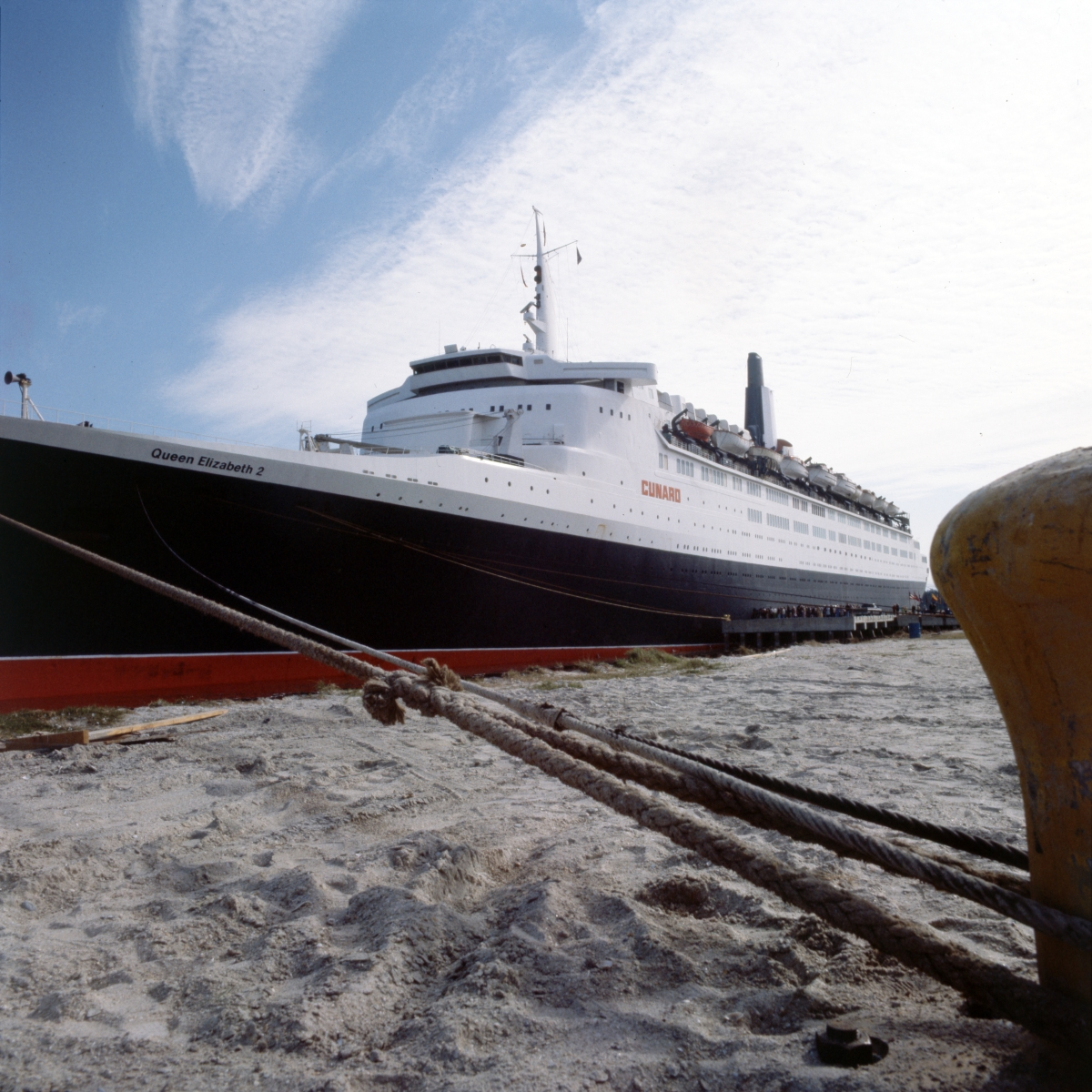 Close-up view of the Queen Elizabeth 2 moored at Port Canaveral.