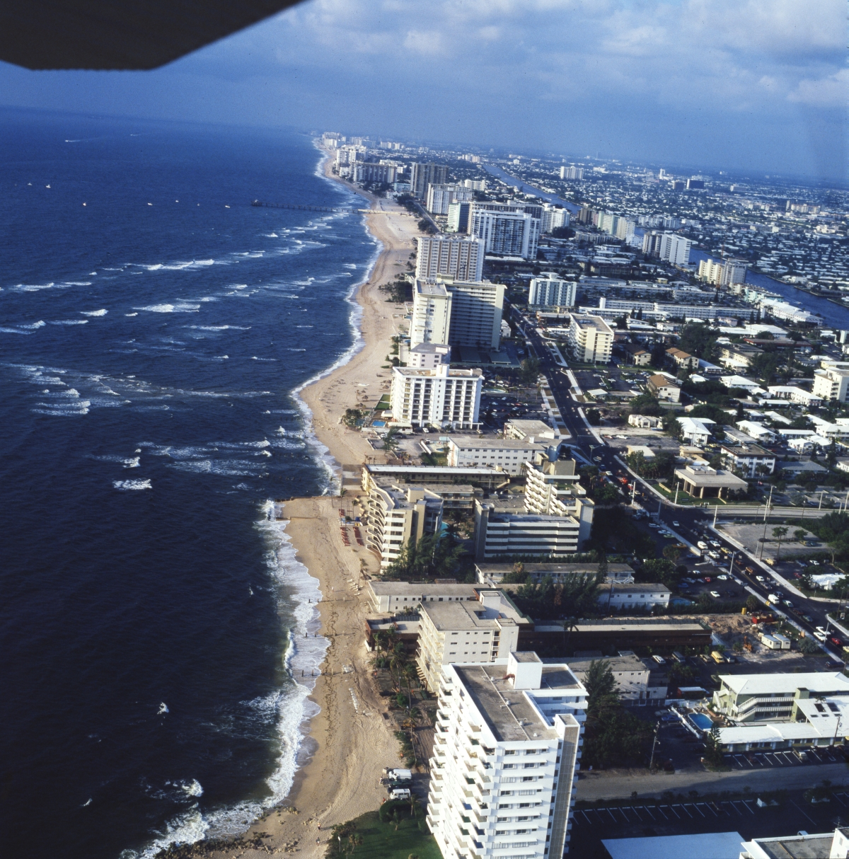 Aerial view looking south down Pompano Beach.