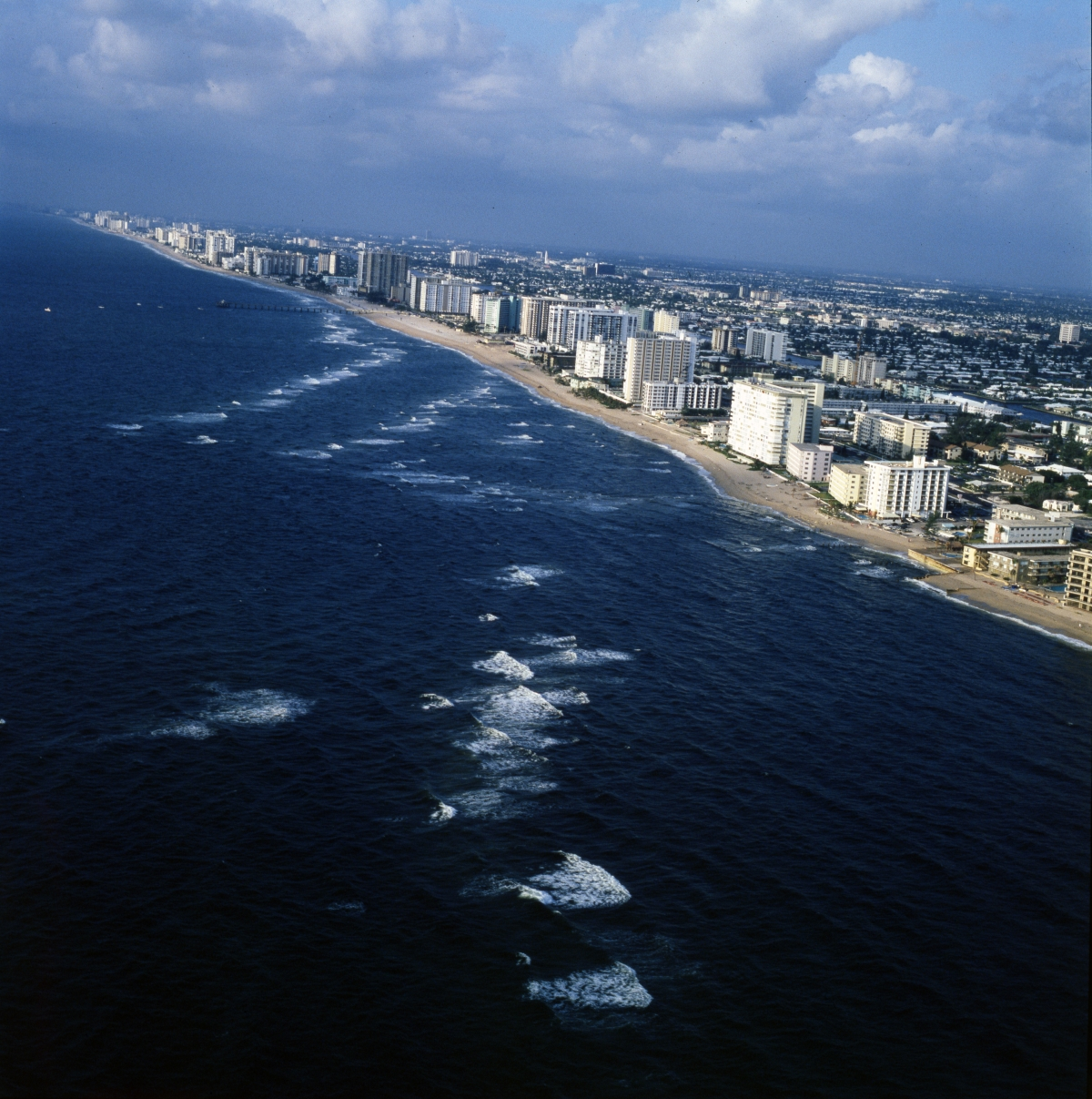 Aerial view looking southwest along the Pompano Beach coastline.