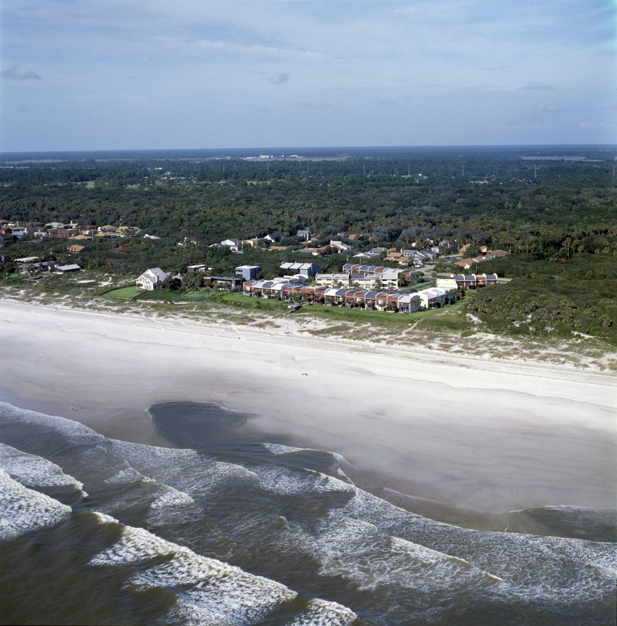 Aerial view looking west at the Ocean Village condominiums in Atlantic Beach.