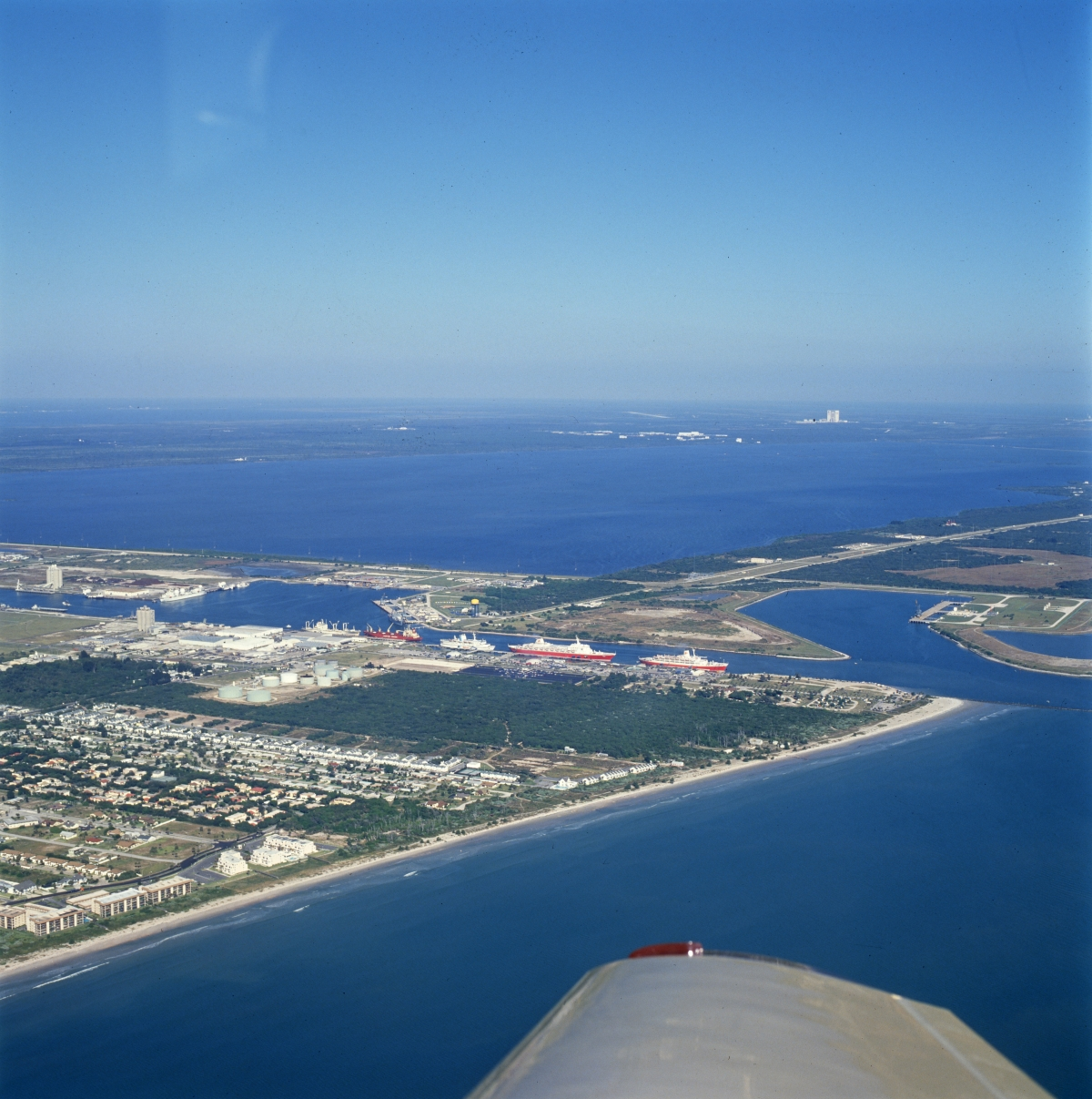 Aerial view looking northwest at Port Canaveral.